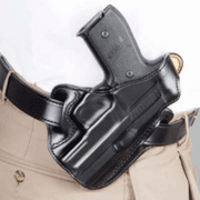 DeSantis Right Hand Black Leather Lined I.C.E. II Holster 011BAM5Z0 - SIG P229 DAK WITH EQUIPMENT RAIL