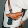 DeSantis Left Hand Tan New York Undercover Shoulder Holster w/ Double Mag Pouch 11DTB21L0 - COLT GOVT MOD, COMMANDER