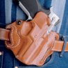 DeSantis Left Hand Tan Speed Scabbard Holster, 3 Slot 002TBS8Z0 - FN 5-7 IOM