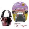 Howard Leight Woman's Shooting Combo Kit - dusty rose earmuff, clear shooting glasses, R-01727